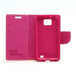 Diary PU kožené pouzdro na mobil Samsung Galaxy S2 - žluté - 6
