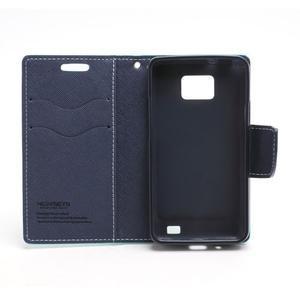 Diary PU kožené pouzdro na mobil Samsung Galaxy S2 - azurové - 6