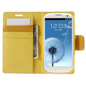 Diary PU kožené pouzdro na mobil Samsung Galaxy S3 - žluté - 6