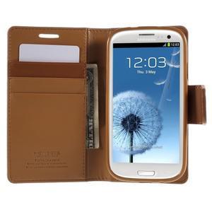 Diary PU kožené pouzdro na mobil Samsung Galaxy S3 - hnědé - 6