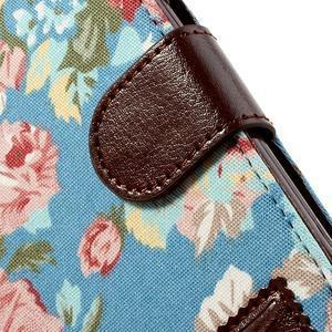 Květinové pouzdro na mobil Samsung Galaxy S3 - modré pozadí - 6