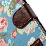 Květinové pouzdro na mobil Samsung Galaxy S3 - modré pozadí - 6/7