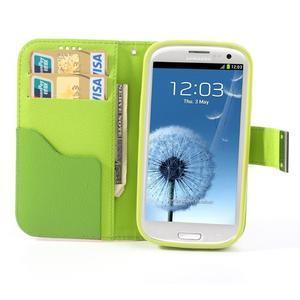 Tricolors PU kožené pouzdro na mobil Samsung Galaxy S3 - tmavězelený střed - 6