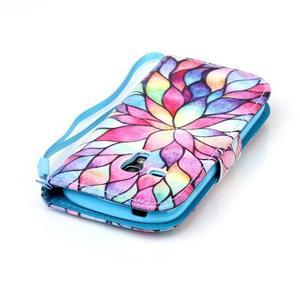 Knížkové PU kožené pouzdro na Samsung Galaxy S3 mini - barevné květy - 6