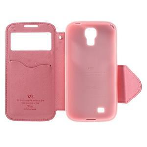 Okýnkové peněženkové pouzdro na mobil Samsung Galaxy S4 - rose - 6