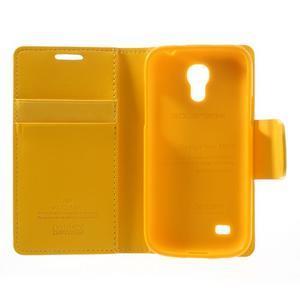 Sonata PU kožené pouzdro na mobil Samsung Galaxy S4 mini - žluté - 6