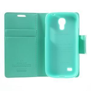 Sonata PU kožené pouzdro na mobil Samsung Galaxy S4 mini - azurové - 6