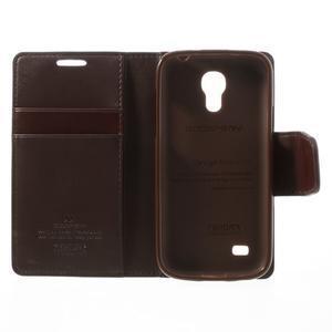 Sonata PU kožené pouzdro na mobil Samsung Galaxy S4 mini - hnědé - 6