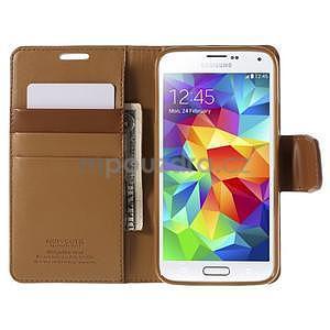 Elegantní peněženkové pouzdro na Samsung Galaxy S5 - hnědé - 6