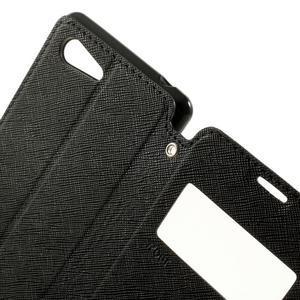 Peněženkové pouzdro s okýnkem na Sony Xperia E3 - černé - 6