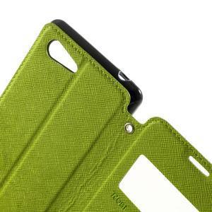Peněženkové pouzdro s okýnkem na Sony Xperia E3 - zelené - 6