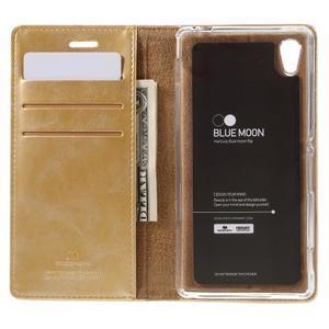 Moons PU kožené klopové pouzdro na Sony Xperia M4 Aqua - zlaté - 6