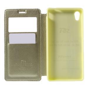 Okýnkové PU kožené pouzdro na Sony Xperia M4 Aqua - zlaté - 6