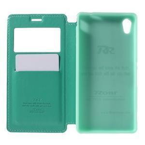 Okýnkové PU kožené pouzdro na Sony Xperia M4 Aqua - azurové - 6