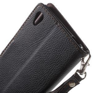 Leaf PU kožené pouzdro na mobil Sony Xperia M4 Aqua - černé - 6