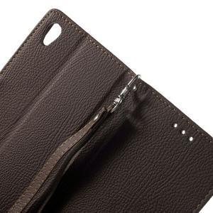 Leaf PU kožené pouzdro na mobil Sony Xperia M4 Aqua - hnědé - 6