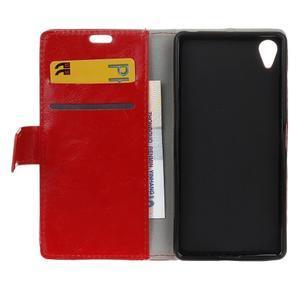 Horse PU kožené pouzdro na Sony Xperia X - červené - 6