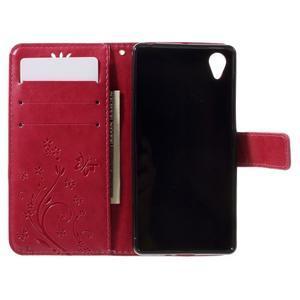 Butterfly PU kožené pouzdro na Sony Xperia X - červené - 6
