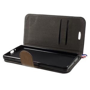 Denim textilní/koženkové pouzdro na Sony Xperia XA - černé - 6