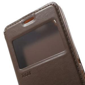 Royal PU kožené pouzdro s okýnkem na Sony Xperia XA - hnědé - 6