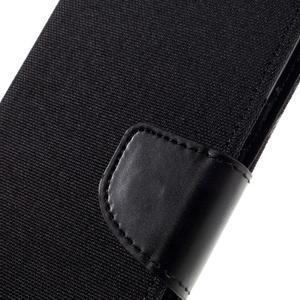 Canvas PU kožené/textilní pouzdro na mobil Sony Xperia XA - černé - 6