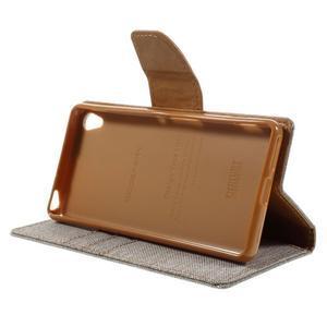 Canvas PU kožené/textilní pouzdro na mobil Sony Xperia XA - šedé - 6