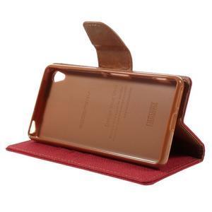 Canvas PU kožené/textilní pouzdro na mobil Sony Xperia XA - červené - 6