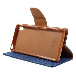 Canvas PU kožené/textilní pouzdro na mobil Sony Xperia XA - modré - 6
