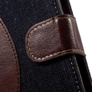 Jeansy PU kožené/textilní pouzdro na Sony Xperia XA - tmavěmodré - 6