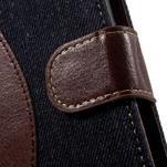 Jeansy PU kožené/textilní pouzdro na Sony Xperia XA - tmavěmodré - 6/7