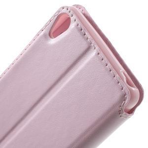 Royal PU kožené pouzdro s okýnkem na Sony Xperia XA - růžové - 6