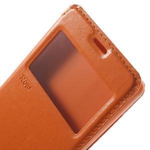 Royal PU kožené pouzdro s okýnkem na Sony Xperia XA - oranžové - 6