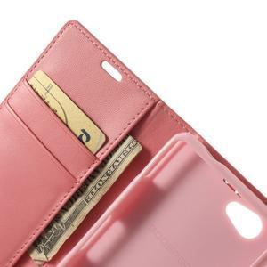 Sonata PU kožené pouzdro na mobil Sony Xperia Z1 Compact - růžové - 6
