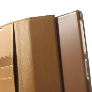 Sonata PU kožené pouzdro na mobil Sony Xperia Z2 - hnědé - 6