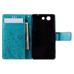 Butterfly PU kožené pouzdro na mobil Sony Xperia Z3 Compact - modré - 6