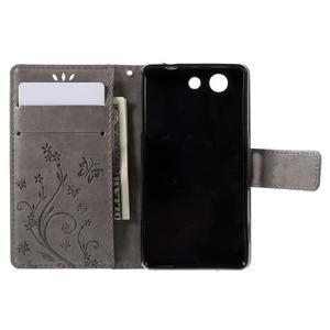 Butterfly PU kožené pouzdro na mobil Sony Xperia Z3 Compact - šedé - 6