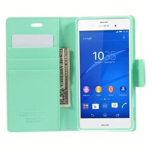 Sonata PU kožené pouzdro na mobil Sony Xperia Z3 - azurové - 6