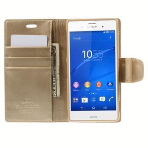 Sonata PU kožené pouzdro na mobil Sony Xperia Z3 - zlaté - 6