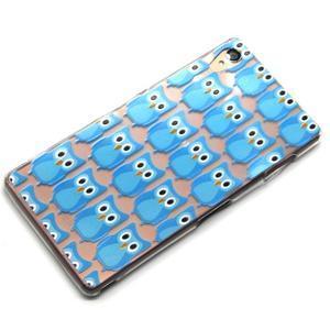Gelový obal na mobil Sony Xperia Z3 - modré sovičky - 6