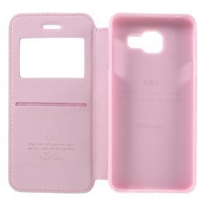 PU kožené pouzdro s okýnkem na Samsung Galaxy A3 (2016) - růžové - 6