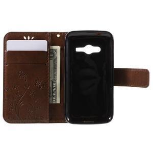 Butterfly pouzdro na mobil Samsung Galaxy Trend 2 Lite - hnědé - 6