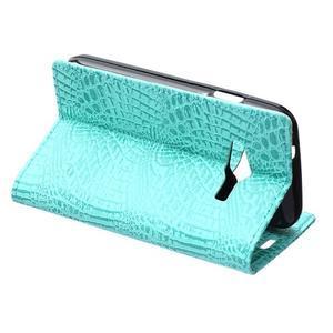 Croco peněženkové pouzdro na Samsung Galaxy Trend 2 Lite - cyan - 6