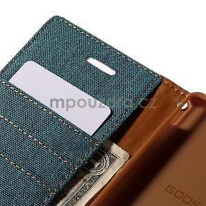 Canvas textilné / koženkové puzdro na Sony Xperia M4 Aqua - zelenomodré - 6