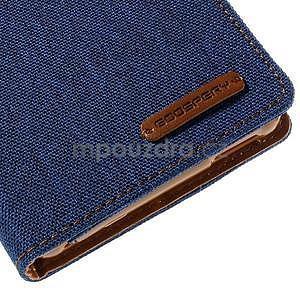 Canvas textilní/koženkové pouzdro na Sony Xperia M4 Aqua - modré - 6
