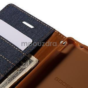Canvas textilní/koženkové pouzdro na Sony Xperia M4 Aqua - tmavěmodré - 6
