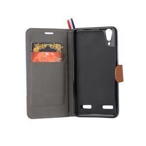 Jeans PU kožené/textilní pouzdro na mobil Lenovo A6000 - světlemodré - 6