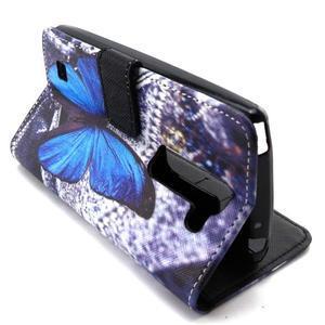 Peneženkové pouzdro na mobil LG G4c - modrý motýl - 6