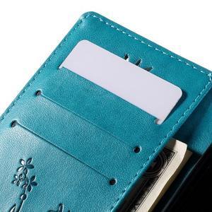 Butterfly PU kožené pouzdro na Huawei Ascend P8 Lite - modré - 6