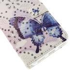 Peněženkové pouzdro s třpytivými flitry pro Huawei Honor 7 - modrý motýl - 6/7