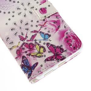 Peněženkové pouzdro s třpytivými flitry pro Huawei Honor 7 - květinoví motýlci - 6